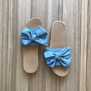 Shoes - NEW Denim bow sandals